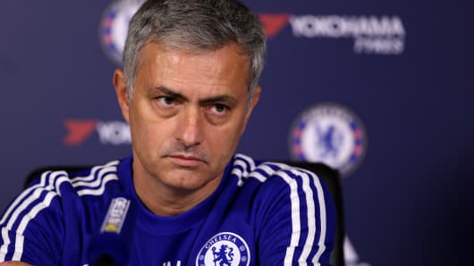 Jose Mourinho talks to the media during a press conference at Chelsea Training Ground on December 11, 2015 in Cobham, England.
