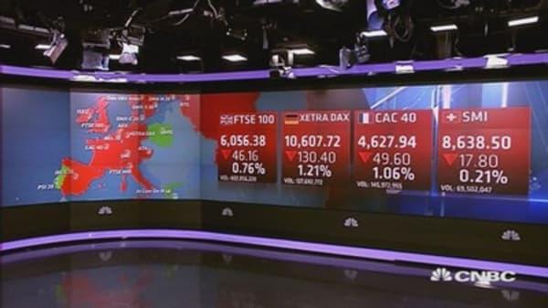 European stocks end lower; oil, metals eyed