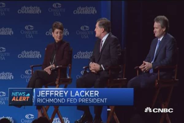 Lacker: Next rate hike could come at any meeting