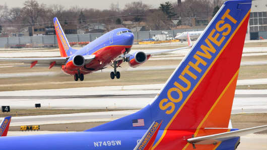 A Southwest Airlines jet takes off at Midway Airport in Chicago, Illinois.