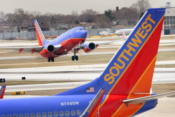A Southwest Airlines jet takes off.