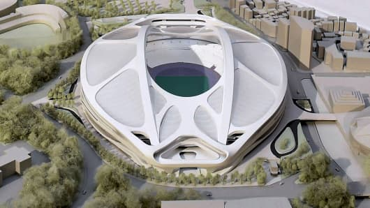 A rendering model of the new National Stadium for 2020 Tokyo Olympics and Paralympics, designed by Iraqi-British architect Zaha Hadid.