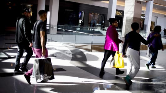 A file photo showing shoppers walking at the Roosevelt Field Mall in Garden City, New York.
