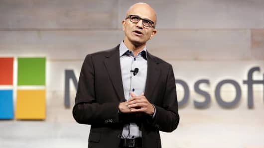 Microsoft Chief Executive Satya Nadella speaks at a shareholders' meeting in Bellevue, Washington.