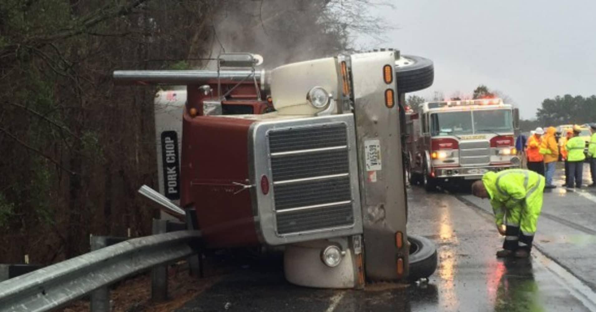 Truck falls on I-40, spills 2,600 piglets