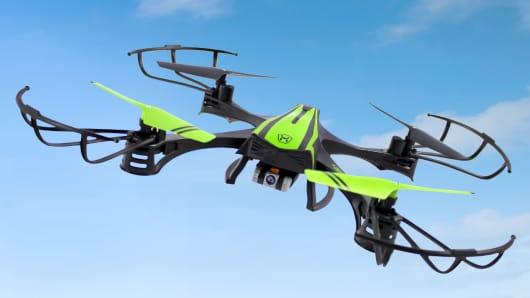 A Skyrocket Toys Sky Viper drone takes flight.