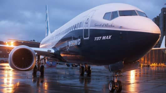 A Boeing 737 MAX sits outside the hangar during a media tour at the Boeing plant in Renton, Washington.