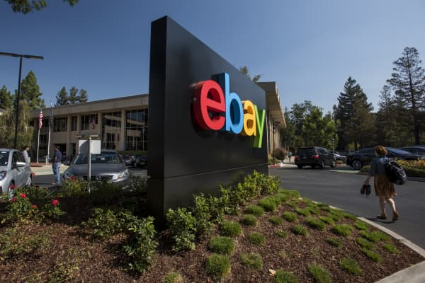 The eBay sign displayed at the company's headquarters in California