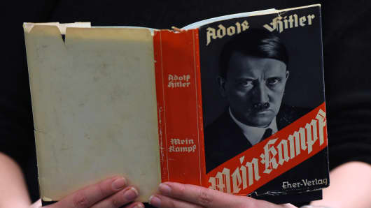 A German edition of Adolf Hitler's 'Mein Kampf' (My Struggle) is pictured at the Berlin Central and Regional Library (Zentrale Landesbibliothek, ZLB) in Berlin on December 7, 2015.
