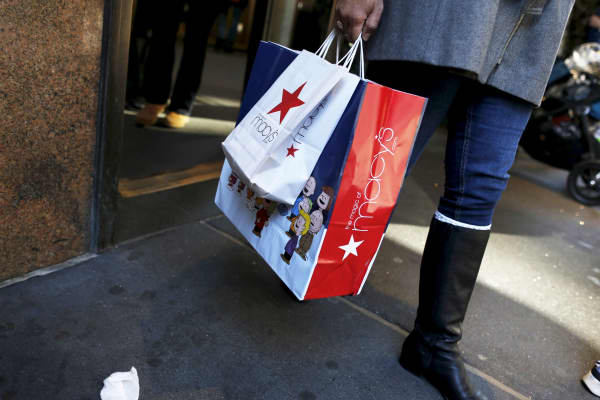 Shoppers leave the Macy's Herald Square store in New York City.