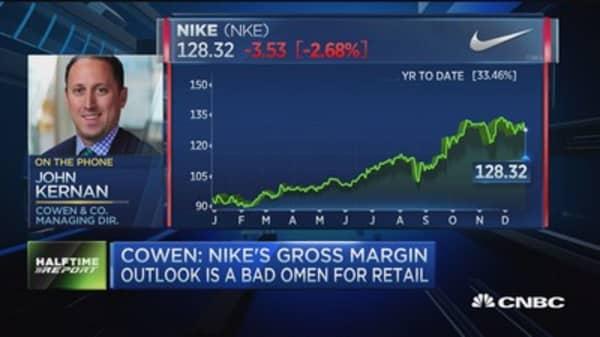 Cowen: Nike's gross margin outlook 'bad omen' for retail