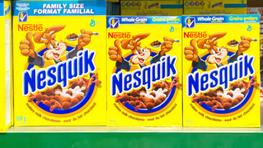 Nestle Nesquik cereal in a store shelf.