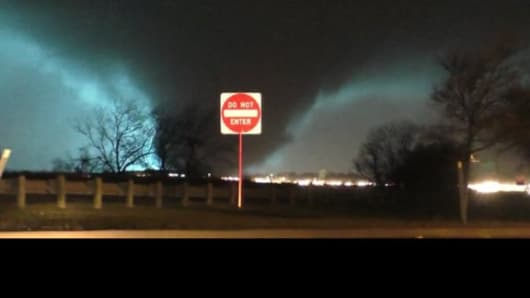 @LukeMarkey tweeted 'This tornado was just east of us ... #Lucky' during the storms that hit Dallas.