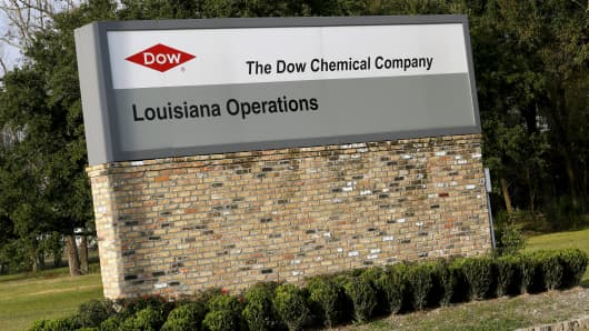 A sign is seen at an entrance to a Dow Chemical plant in Plaquemine, Louisiana.