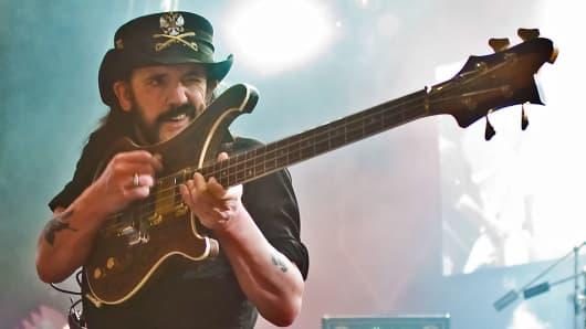 "Motorhead frontman Ian ""Lemmy"" Kilmister at the Hammersmith Apollo in London back in 2008."