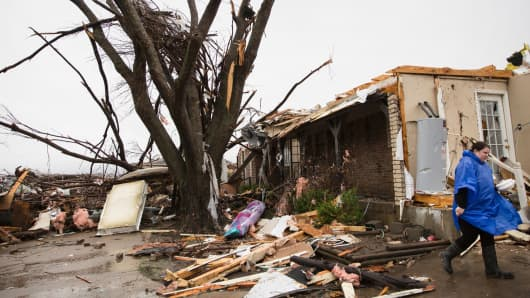 A heavily damaged area in the aftermath of a tornado in Rowlett, Texas, Dec. 27, 2015.