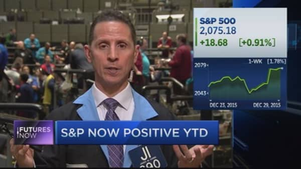 Stocks turn positive on the year