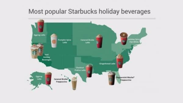 Starbucks released a report highlighting beverage favorites across the nation