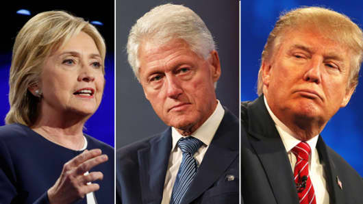Hillary Clinton, Bill Clinton and Donald Trump