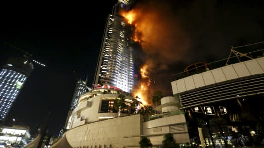A fire engulfs The Address Hotel in downtown Dubai in the United Arab Emirates December 31, 2015.