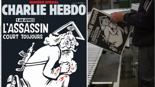 The cover of Charlie Hebdo, to mark the first anniversary of the attacks on 7 January 2015.