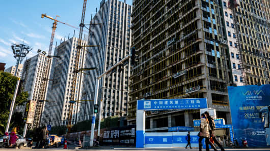 Construction of apartment buildings in Wuhan, China last month.
