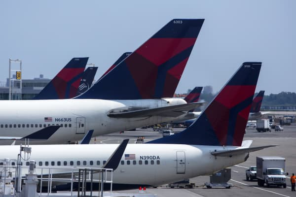 Delta Airlines planes sit at Terminal 4 at John F. Kennedy Airport in New York City.