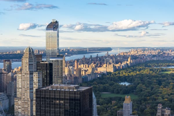 One57 building in the skyline of New York City as seen from the Rockefeller Center Observation Deck.