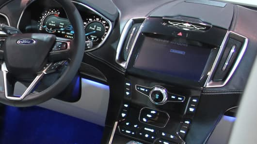 Interior dash of a Ford Edge.