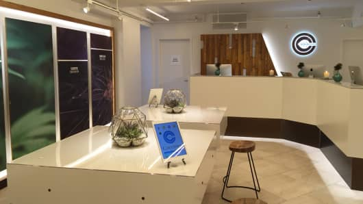 Inside Columbia Care, one of New York City's first medicinal marijuana dispensaries. The Columbia Care shop is located on 14th Street right off Manhattan's Union Square.