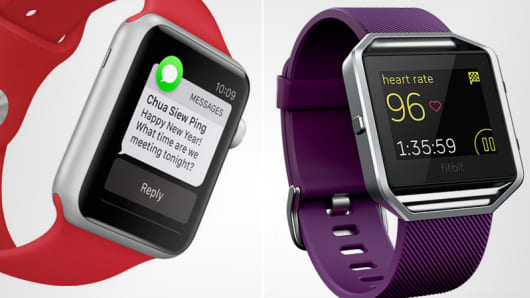 Apple Watch Sport and the Fitbit Blaze