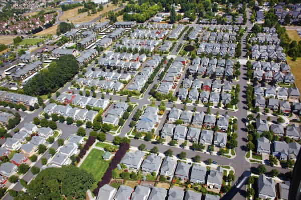 Aerial view of a neighborhood in Portland, Oregon.