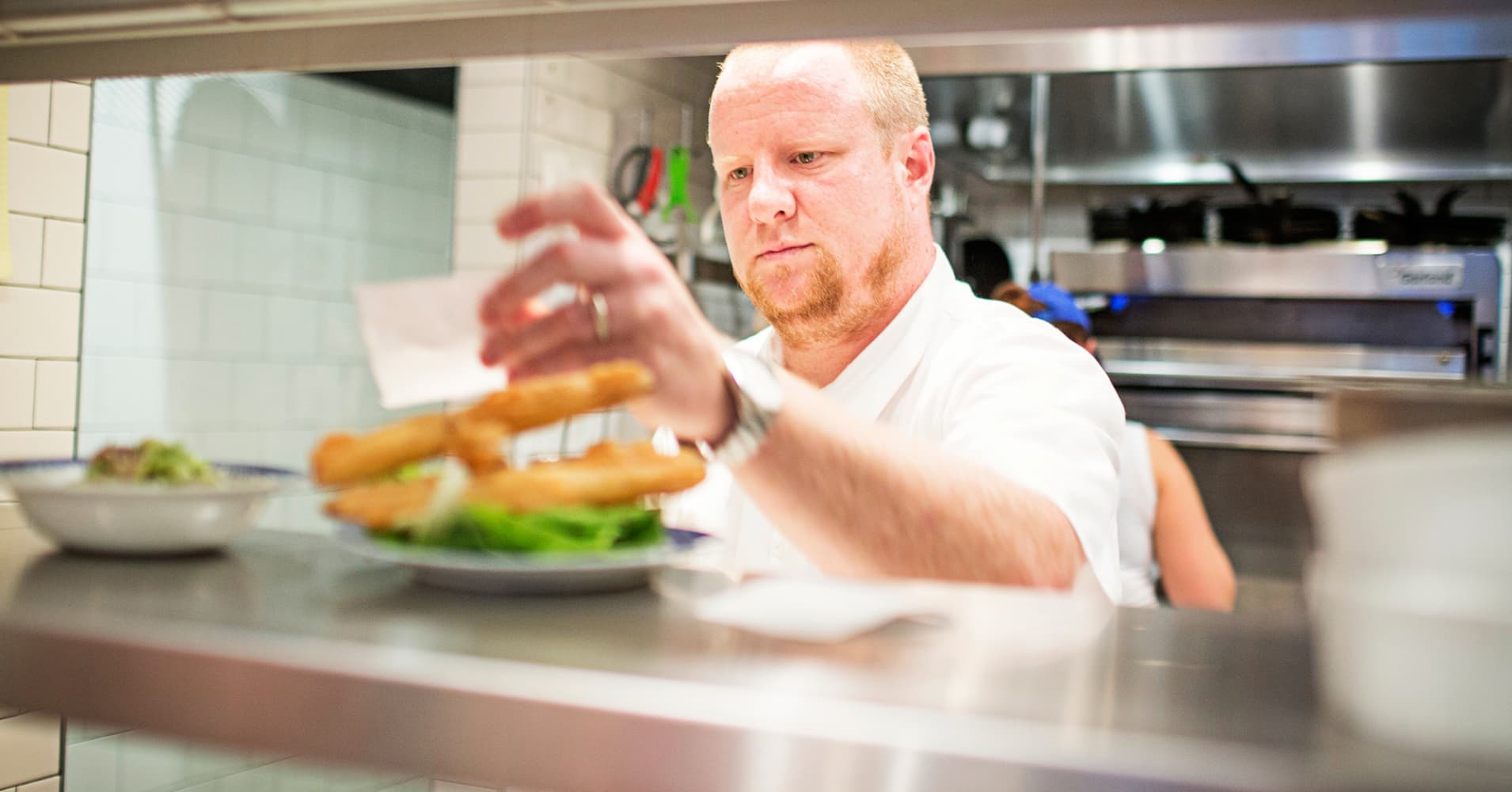 Chef Sam Adkins at his restaurant, Sally's Middle Name in Washington, D.C.