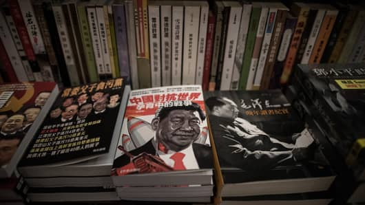 Books about China politics are displayed in a books store in Causeway Bay district in Hong Kong on January 5, 2016.
