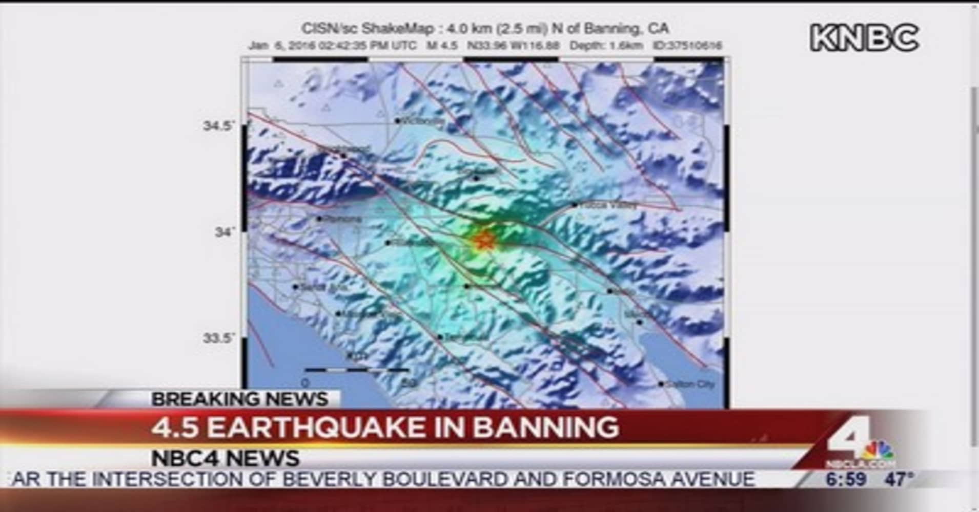 Breaking news earthquake today banning