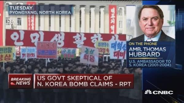 Unlikely N. Korea conducted hydrogen bomb test: Hubbard