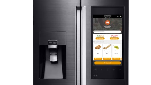 Samsung refrigerator unveiled at CES 2016.