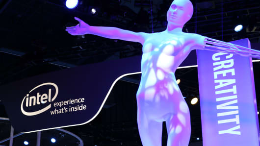 The Intel display at CES 2016 in Las Vegas.