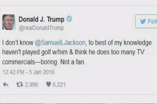 Donald Trump blasts Samuel L. Jackson on Twitter