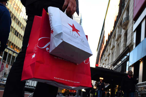 A shopper outside Macy's department store in Herald Square, New York.