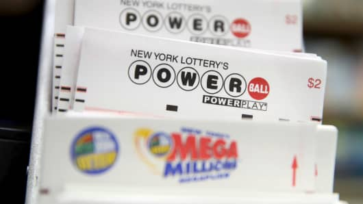 Powerball lottery tickets at a store in New York City.