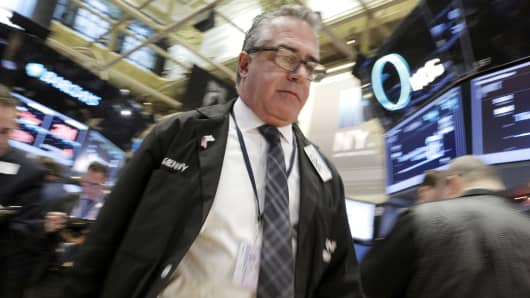 A trader on the floor of the New York Stock Exchange, January 7, 2015.