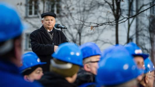 Jaroslaw Kaczynski, leader of Poland's ruling Law and Justice Party, gives a speech during a pro-government demonstration.