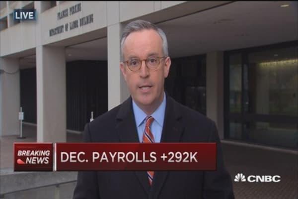 December payrolls up 292,000