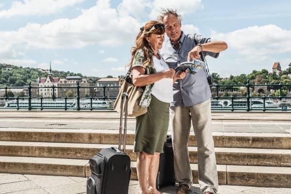 Senior couple traveling