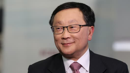 John Chen, CEO of BlackBerry at CES 2016 in Las Vegas.