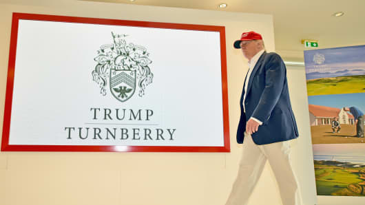 Donald Trump visits his Scottish golf course Turnberry on July 30, 2015 in Ayr, Scotland.