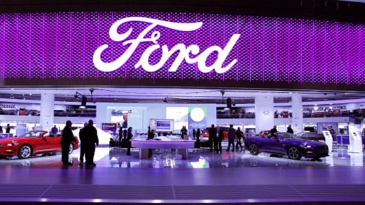 The Ford exhibit is shown on the first day of media preview days at the 2016 North American International Auto Show on January 11, 2016 in Detroit, Michigan.