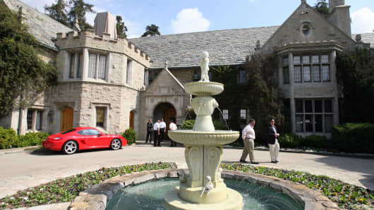 View of the Playboy Mansion, owned by US Playboy Magazine publisher Hugh Hefner in Beverly Hills, California.