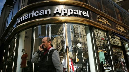 The American Apparel logo is displayed outside of a store in New York City.
